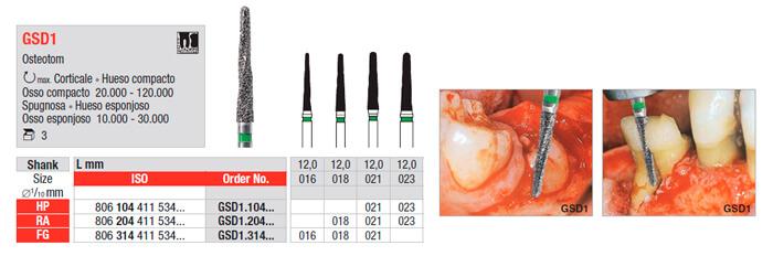 Fresa de Cirugia GSD1 Osteotomia - edenta