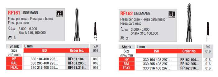 Fresa para Hueso RF161 y RF162 edenta