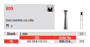 Fresa de Diamante 809 Cono Invertido con Collar edenta Bio