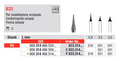 Fresa de Diamante 833 Conformación Oclusal edenta - Bio