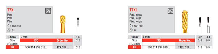 Fresas Carburo T7X Eliminador Amalgama edenta